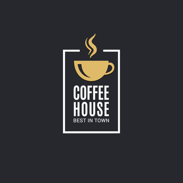 Coffee cup logo. Coffee house label on black