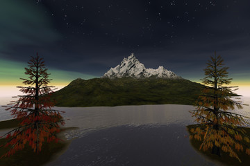 Snowy mountain, a night landscape, coniferous trees, wonderful waters, aurora and stars in the sky.