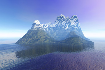 Snowy mountain, an island landscape, reflection in the sea and a fantastic sky sky.