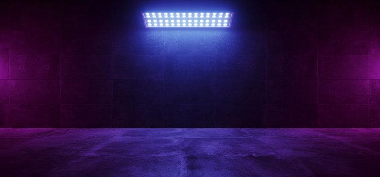 Sci Fi Modern Elegant Futuristic Cyber Neon Led Studio Big Panel Lights Blue Purple Glowing Lights On Dark Empty Grunge Concrete Room Background Stage 3D Rendering