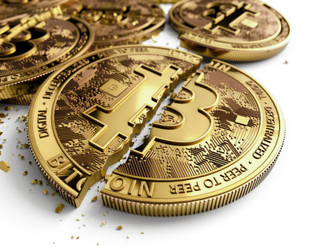 Close-up shot on broken or cracked Bitcoin coins laying on white background. Bitcoin crash concept. 3D rendering