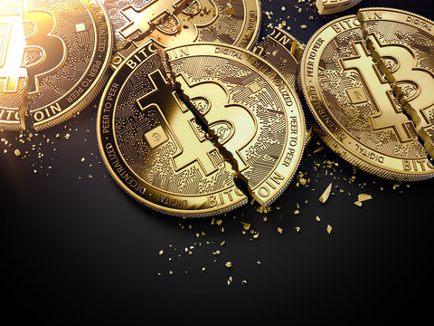 Close-up shot on broken or cracked Bitcoin coins laying on black background. Bitcoin crash concept. 3D rendering