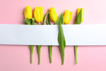 Beautiful tulips with blank card on light background, top view. Space for text