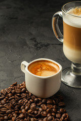 coffee freshly brewed in a white cup serving of beverage (coffee grain). food. top.copy save