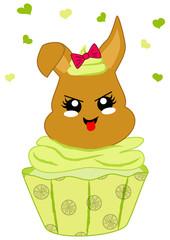 niedlicher Zitronen Cupcake mit Häschen im Kawaii Stil. Vektor Datei Eps 10