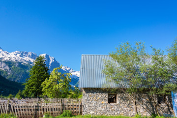 Old Building and Albanian Alps