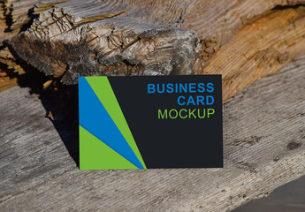 Business Card on Wood Background Mockup