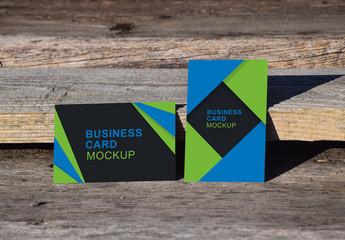 Business Cards on Wood Background Mockup