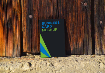 Vertical Business Card Outdoor Wooden Wall Mockup