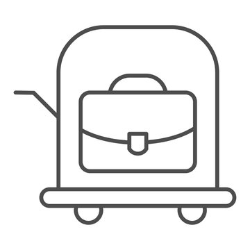 Bag on trolley thin line icon. Luggage cart vector illustration isolated on white. Suitcase on cart outline style design, designed for web and app. Eps 10.