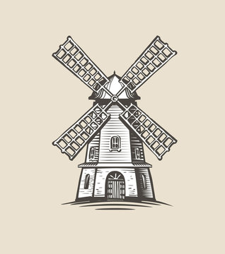 Windmill, mill logo or label. Farm, agriculture symbol. Sketch vector illustration