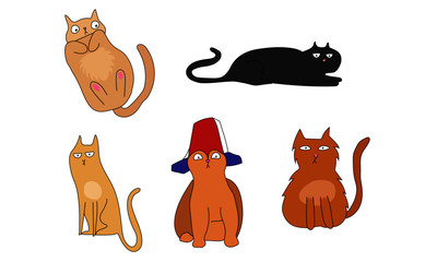Funny cats collection vector design illustration, 5 cats, brown and black cats, silly cats