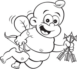 Black and white illustration of happy baby cupid with a bow and arrows.