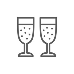 Two glasses of champagne line icon.