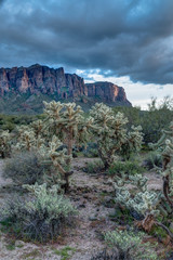 Sun sets on the Superstition Mountains