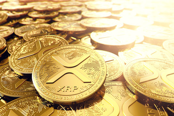 Stack or piles of golden Ripple XRP coins in blurry closeup. 3D rendering