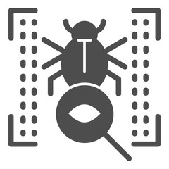 Vulnerability scan solid icon. Bug search vector illustration isolated on white. Virus scan glyph style design, designed for web and app. Eps 10.