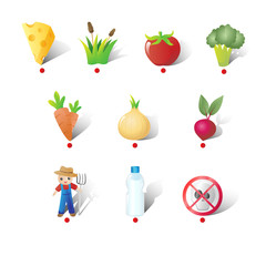 Farm and Vegetables Icons Illustration