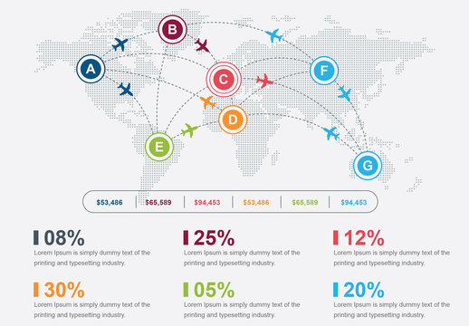 World Airplane Route Infographic Layout