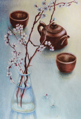 The illustration shows the table on which there are two ceramic cups and a kettle. Nearby is a glass vase with a sprig of cherry blossoms. Figure made with colored pencils.