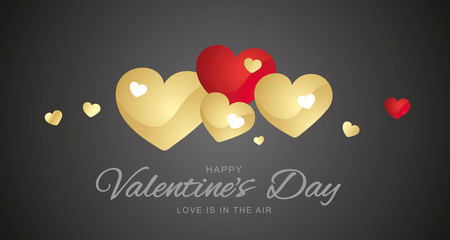 Happy Valentines Day gold red hearts black background banner greetings