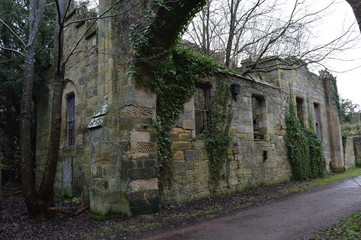 The striking ruins of Crawford Priory, Springfield, Cupar, Fife, extended in early 19th century.