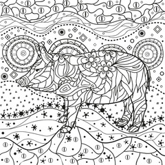 Ornate square wallpaper with pig. Hand drawn waved ornaments on white. Abstract patterns on isolated background. Design for spiritual relaxation for adults. Line art. Black and white illustration