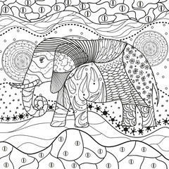 Abstract eastern pattern. Elephant on square mandala. Hand drawn animal with tribal patterns on isolation background. Design for spiritual relaxation for adults. Black and white illustration