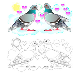 Fantasy illustration of couple cute pigeons. Colorful and black and white page for coloring book. Printable worksheet for children and adults. Vector cartoon image.