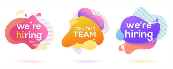 we are hiring text in abstract fluid background, vector illustration concept, can use for, landing page, template, ui, web, mobile app, poster, banner, flyer