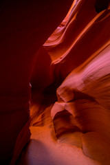 Inside the colorful Antelope Canyon, the famous slot canyon in Navajo reservation near Page, Arizona, USA