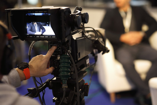 recording of an interview in a tv studio