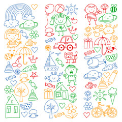 Kindergarten pattern with cute children and toys. Kids drawing style illustration