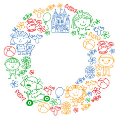 Children with toys. Colorful pattern for kindergarten posters.