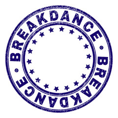BREAKDANCE stamp seal watermark with distress texture. Designed with round shapes and stars. Blue vector rubber print of BREAKDANCE title with corroded texture.