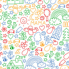 Children drawing. Colorful vector pattern with toys, space, planet