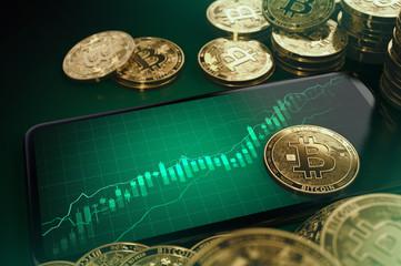 Green diagrams indicating Bitcoin growth. Good Bitcoin stock-market condition concept. 3D rendering