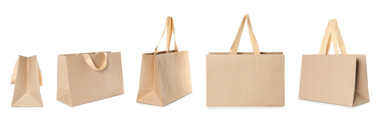 Set of paper bags for shopping on white background. Mockup for design