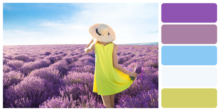 Young woman with bouquet in lavender field. Color palette
