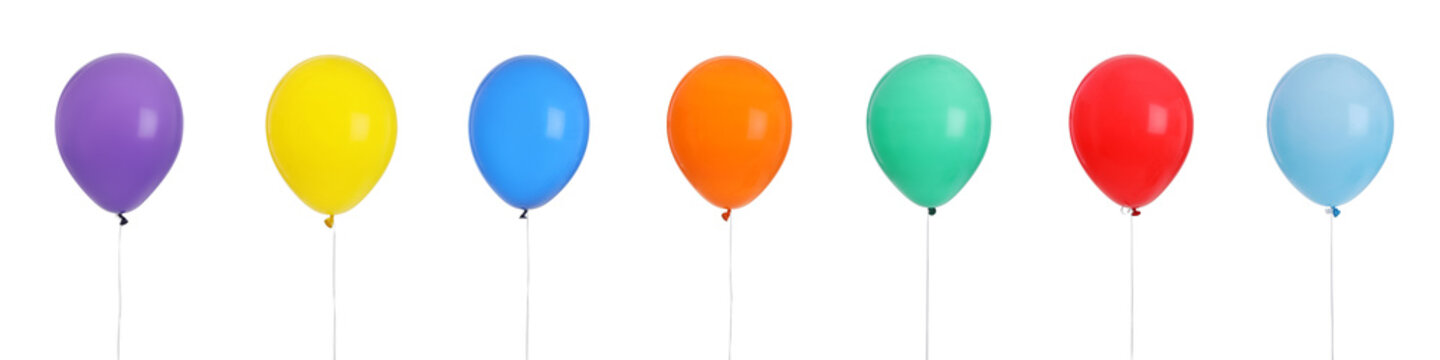 Set of bright colorful air balloons on white background