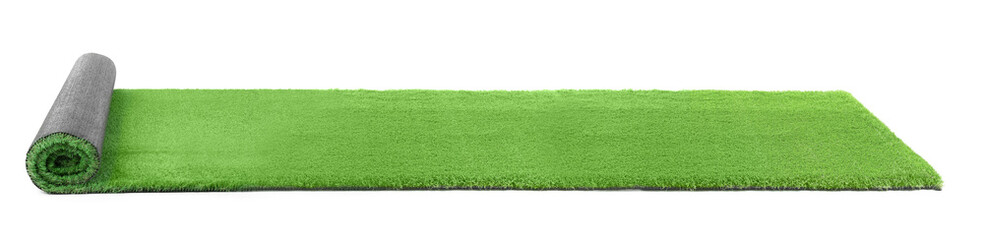 Rolled artificial grass carpet on white background. Exterior element