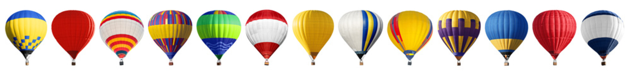 Set of bright colorful hot air balloons on white background