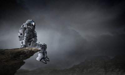 Fototapeta Spaceman in cosmos. Mixed media obraz