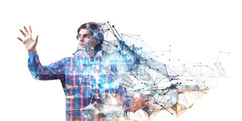Experiencing virtual technology world. Mixed media Wall mural