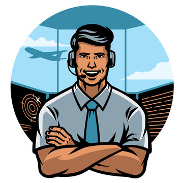 air traffic controller worker smiling