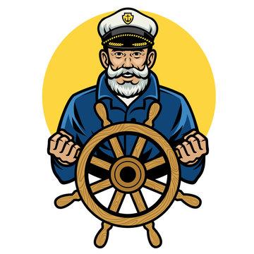 old sailor captain holding the ship wheel