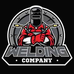 welder wearing welding helmet pose in badge