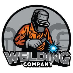 welder working with weld helmet in badge design style