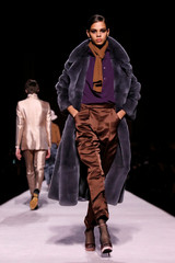 A model presents a creation from the Tom Ford collection during New York Fashion Week in New York