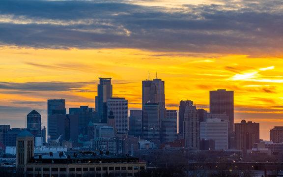 Wintry Sunset Over Minneapolis